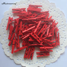 50 RED Clothespins Micro Wooden Clothespins for Treat Bags Cards Journals Altered Art Scrapbooking Accessories Decor(China)