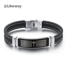 Hot Sale Men Jewelry Silicone Bracelet Stainless Steel Cross Bible Simple Rubber Bracelets Man Accessories MCC0036