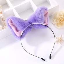 Hot Cute Sexy Candy Color Lolita Royal Sister Fox Demon Performance Headdress Props Plush Cat Ears Fox Ears Hair Bands Gift(China)