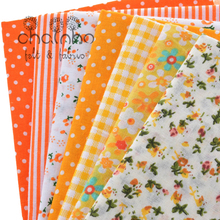 Thin Plain Printed Cotton Fabric Small Fat Quarters Patchwork For Sewing Quilting Floral Bundle Cloth Tissus 7pcs/lot 24cm*24cm(China)