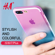 H&A Transparent Gradient Color Design TPU Silicon Case For iphone X 8 7 6 6s plus Case Cover For iphone 7 8 6 plus Cases Capa(China)