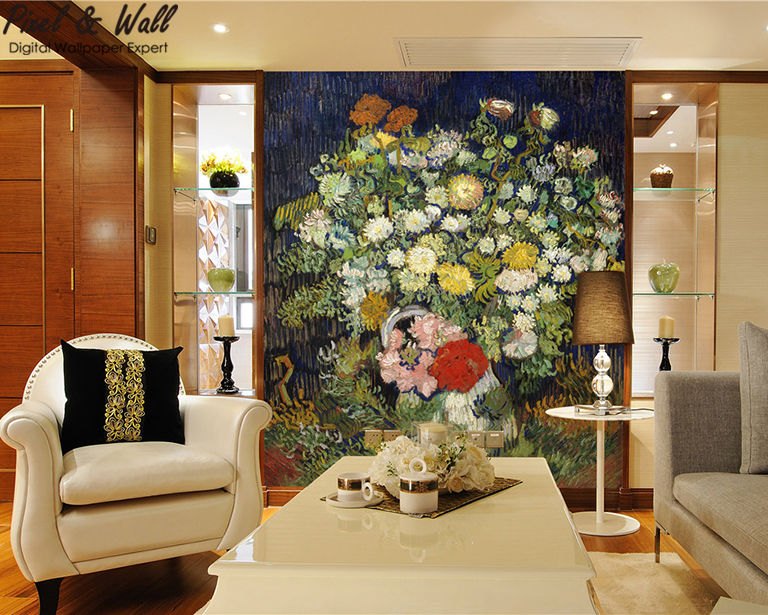 A bouquet of flowers in a van gogh bottle mural photo home accessories decoration living room decoration STDM30593 13