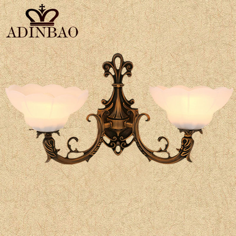 Vintage Copper Wall Sconce White Glass Led Wall Light European Garden Lighting Orchid Flower Lampshade 8013-2<br><br>Aliexpress
