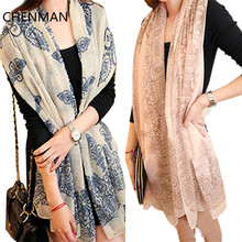CHENMAN Summer New Style One Piece New Winter Women Lady Flowers Voile Soft Long Shawl Scarf Wraps Stole Neck Hot