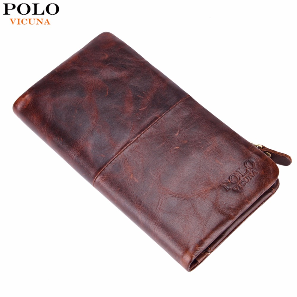 VICUNA POLO Famous Brand Waxy Oil Genuine Leather Man Wallet With Zipper Pocket Vintage Casual Large Long Men Wallet carteira<br><br>Aliexpress