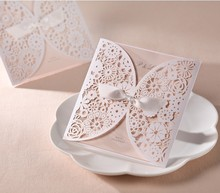 50pcs FREE SHIPPING White Laser cut Hollow Flower Vintage Wedding invitation Card with Blank Inside card ,Envelope wedding Ideas