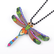 Bonsny Acrylic Dragonfly Necklace Long Black Chain Pendant Fashion Jewelry For Women 2015 News Style Original Design Accessories