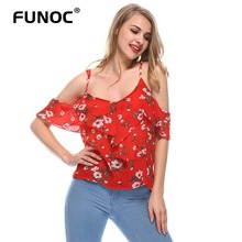 Buy Red Floral Print Ruffles Sexy Chiffon Blouse Shoulder Women Tops Halter Female Shirt Summer Beach chemise blusa de renda for $3.62 in AliExpress store