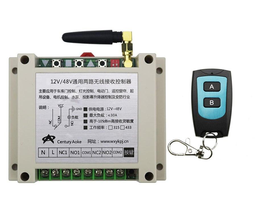 New DC12V 24V 36V 48V 10A 2CH Radio Controller RF Wireless Relay Remote Control Switch 315 MHZ 433 MHZ  Transmitter+ Receiver<br>