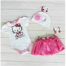 2016 New Baby Girl Set  Infants Jumpsuit 3pcs Lace Hat + Hello Kitty Romper + Skirt Suit Roupas De Menina Baby Clothing