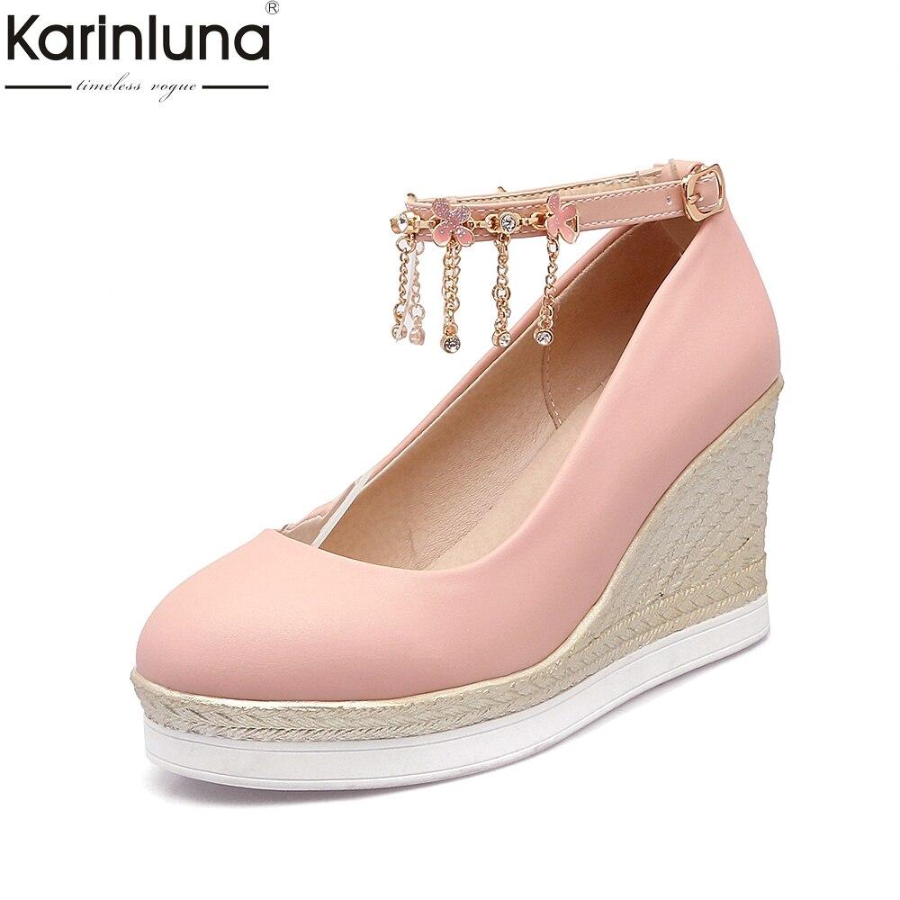 Karinluna Hot Sale Large Size 33-43 Chains Wedges High Heels Women Shoes Spring Platform  Girls Date Summer Woman Shoes Pumps<br>