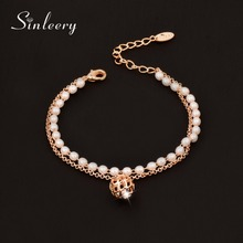 SINLEERY Fashion Rose&White Gold Color Simulated Pearl Bracelet Bangle Chain for Women Charm Hollow Ball Pendant Bracelet SL355(China)