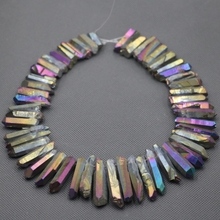 Approx 54pcs/strand Natural Raw Rainbow Quartz AB Crystal Point Pendant, Rough Top Drilled Spike Gem Beads Women Necklace
