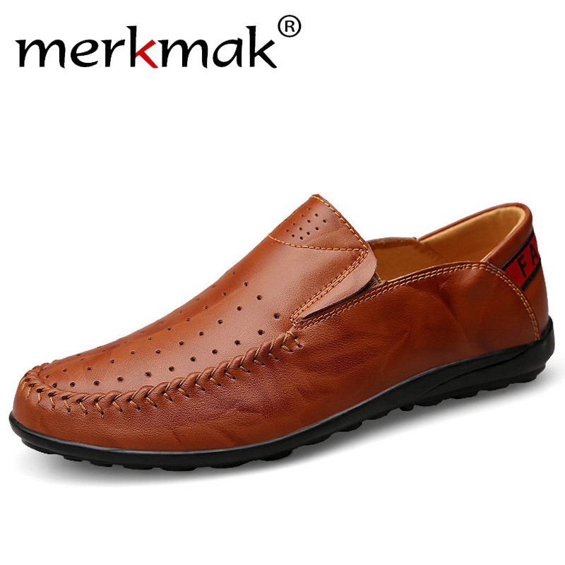 Merkmak Oxford Mens Shoes Fashion Genuine Leather Flats Loafer Casual Breathable Holes Footwear Shoes Handmade Moccasins Zapato<br>
