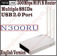 English TOTOLINK N300RU Wireless N 300Mbps WiFi Router WiFi Repeater with USB 2.0 Port Supports Printer Server/FTP Server