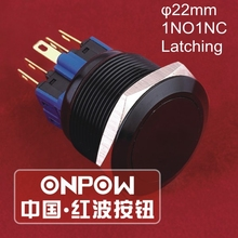ONPOW 25mm 1NO1NC Aluminium Alloy black anodized Latching Anti-vandal Metal Push Button Switch (GQ25-11Z/A) CE,ROHS(China)