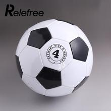 Relefree Black White Size 4 Outdoor Teenagers Child Training Ball Sports Football PU Soccer Ball Kid Size(China)