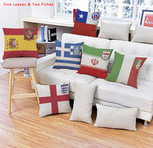 2PCS/LOT World Cup Germany France Spain Italy Flag Team Logo Pillow Cover Cushions No Inner Core Pillow Case Linen Pillowslip(China)