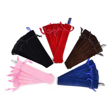 Wholesale 50 Pcs Thicken  Velvet Pen Pouch Holder Single Pencil Bag Pen Case With Rope For Rollerball /Fountain/Ballpoint Pen