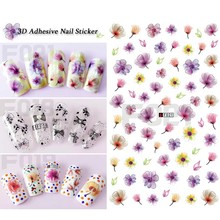 1pcs 3D Nail Stickers Blooming Flower DIY Nail Art Bow Wraps Foil Decoration Colorful Purple Fantasy Tips Designs SAF018-028