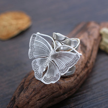original silver butterfly ring opening Thailand Tefo Chiang Mai imported handmade silver ring S925 Sterling Silver Ring
