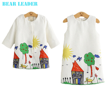 Bear Leader Girls Clothing Sets 2016 Brand Winter Girls Clothes Graffiti Printing Girls Outerwear+Girls Dress for Chindren 3-8Y