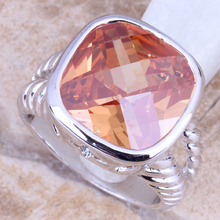 Angelic Champagne Morganite Silver Stamped 925 Women's  Ring Size 6 / 7 / 8 / 9  R1284