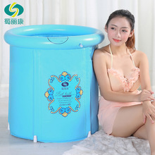 Light blue thicker bath tub adult inflatable bathtub plastic folding portable bath tub Pencil case for school(China)