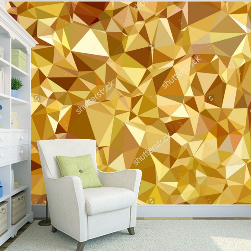 Custom gold wallpaper,Gold Geometric Polygon,modern murals for living room bedroom background wall waterproof wallpaper<br>