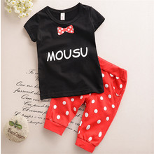 Special Offer Retail!Hot In The Summer Of 2016 The Children's Suit Sets The Boy Girl's Short Sleeve T-shirt + Dot Pants(China)