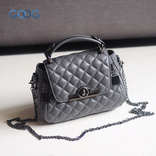 Europe and the United States classic sheepskin checkered chain tide package leather handbags fashion casual shoulder Messenger b