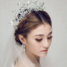 High-end crystal big crown handmade Bridal tiaras and crowns soft tiara bridal wedding hair accessories prom hair jewelry