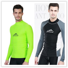 UV Protected Rush Guard Men's Swimming Surfing T Shirt Beach Wear Long Sleeve  Wetsuit 3XL Fluorescent Green Black Free Shipping