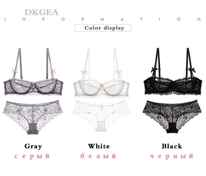 Hot Sexy Bra Set Plus Size 36 38 40 Ultrathin Underwear Women Set White Lace Bra Embroidery Transparent Lingerie Brand Brassiere 11