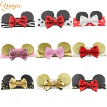 24Colors 1pc Retail European Minnie Mouse Ears Infantile Elastic Headband New Infantile Girl DIY Hair Accessories 2016 Headwrap