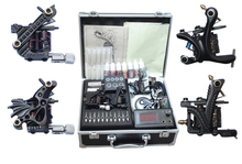 Professional Complete Equipment Tattoo kits Machine set 4 Gun Color Inks Power Supply Cord Kit Body Beauty DIY Tool