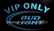 LA092- Bud Light VIP Only Bar Beer LED Neon Light Sign home decor shop crafts(China)