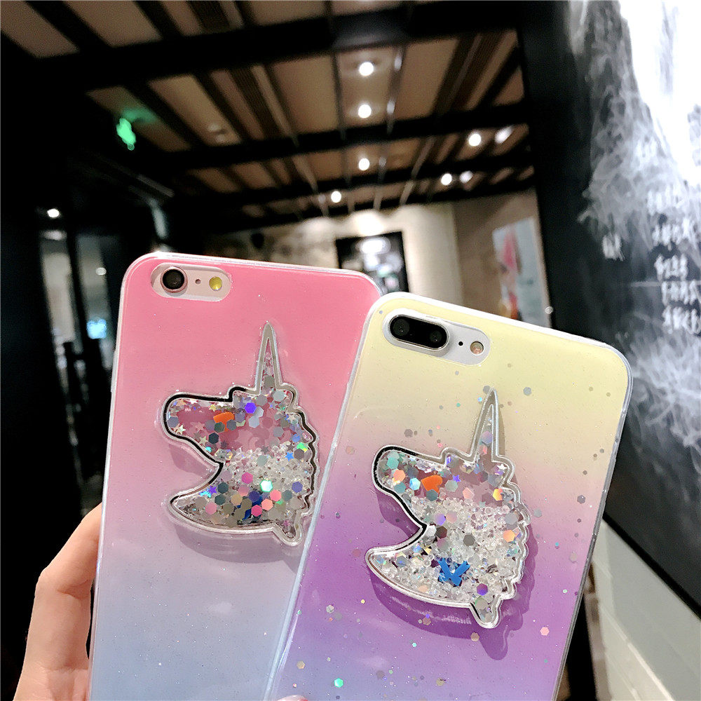 XINKSD For iphone 6 s 6s Gradient Luxury diamond unicorn phone case On iphone 7 8 x xr xs max Ultra-thin soft tpu liquid funda (8)