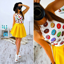 2017 Summer New Style Sexy Women Print dress Two Pieces Clothing