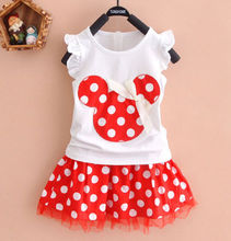 Hot! 2016 New Arrival Brand Baby Girls Cartoon Minnie Mouse Polka Dot Dress Suit Girl's Clothes 100% Cotton