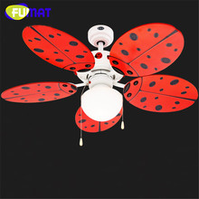 FUMAT Ceiling Fans Light Cute Red Ladybug Children Room Ceiling Fan Lights Decorative Fans Ceiling Lamp Nursery Ceiling Fan