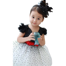 Retail NEW HOT girls' dresses summer chiffon ball gown baby Red bowknot white party princess dress children clothing