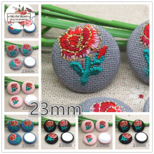 10pcs 23mm embroidery flower Flatback Fabric Covered round Buttons Home Garden Crafts Cabochon Scrapbooking DIY craft