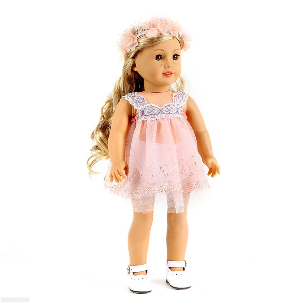 White Light Pink Lace Handmade Princess Dress Doll Clothes 43cm Baby Born Doll Dresses Vest Dress For 18 Inch Girl Doll