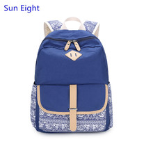 Sun Eight brand dark blue girls vintage canvas backpack women travel bags flower backpack for girls laptop bag 15 girl schoolbag
