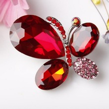 High Quality Shinning Blue and Red Glass Crystal Stone Butterfly Fashion Brooches Costume Jewelry in 6 assorted colors