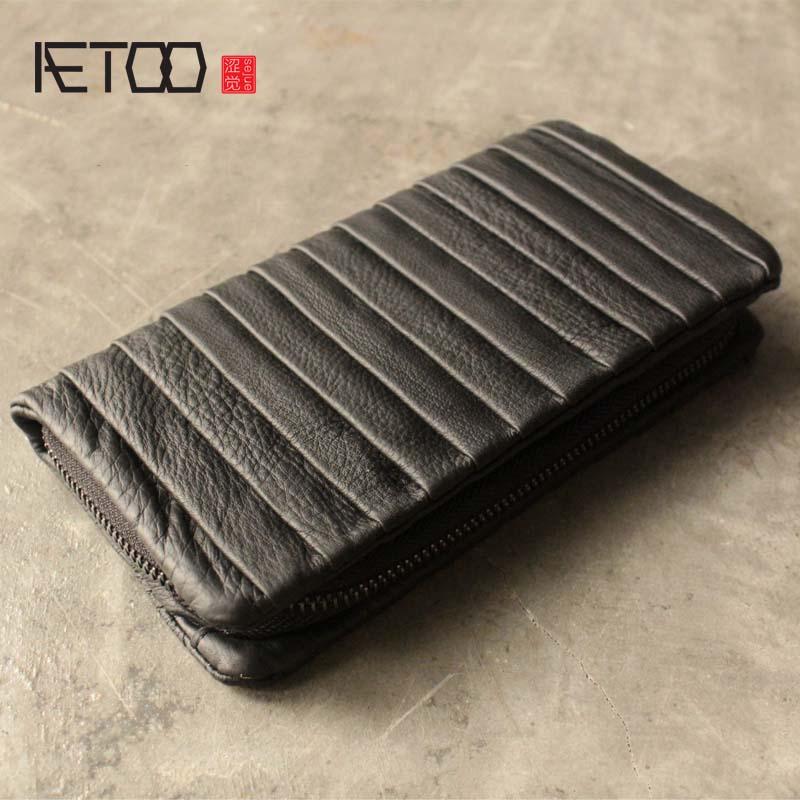 AETOO Leather wallet women long section European and American personality fold large capacity multi-card first Vintage leather <br>