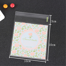 10x10+3cm Bread Puff Gift Jewelry Flower Lovely Bakery Self Adhesive Packaging Biscuit Plastic Sweet Wedding Candy Bag H0220(China)