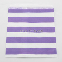 100pcs Mixed Colors Cheap Holiday Buffet Candy Treat Gift Lilac Sailor Striped Kraft Paper Favor Bags(China)