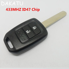 DAKATU Hon66 Blade Remote key 2 Button For Honda NEW Fit XRV Vezel With ID47 Chip 433Mhz Car Alarm Keyless Entry Fob(China)